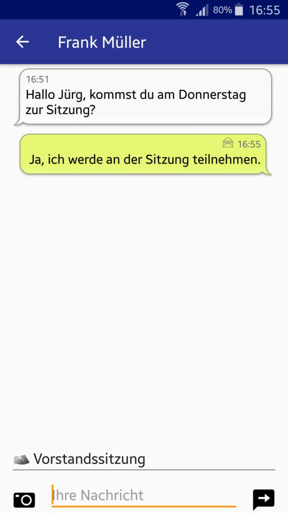 VereinsApp - Chat Nachrichten Ansicht eines Gruppen Chats - Android