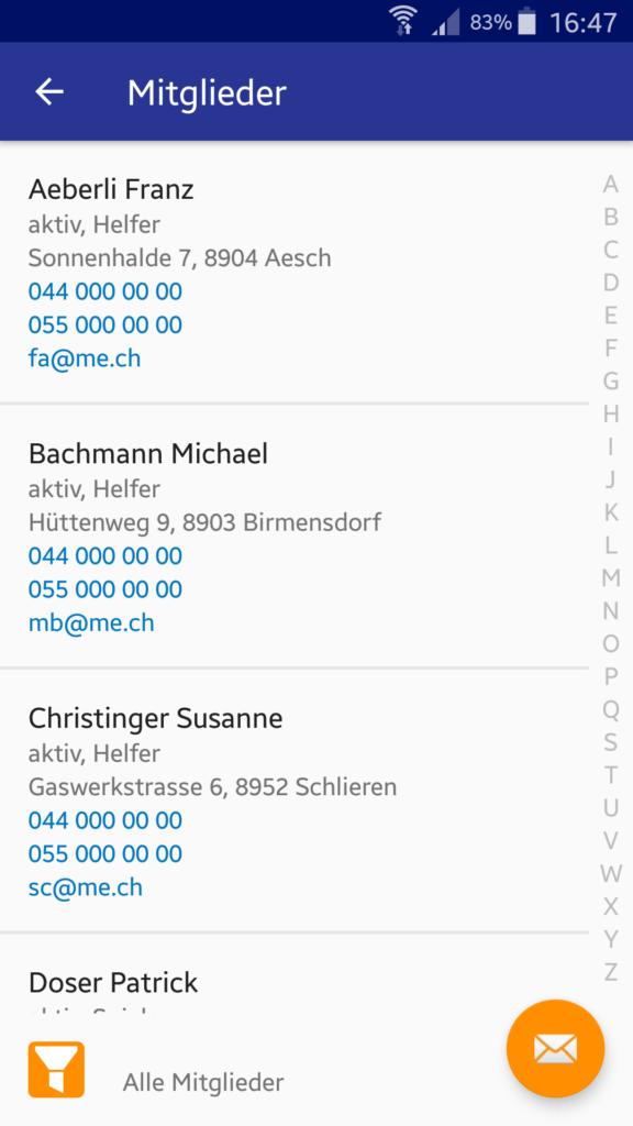 VereinsApp - Die Vereins-App / Vereins App mit Mitglieder Liste mit Anruffunktion und E-Mail Funktion - Android