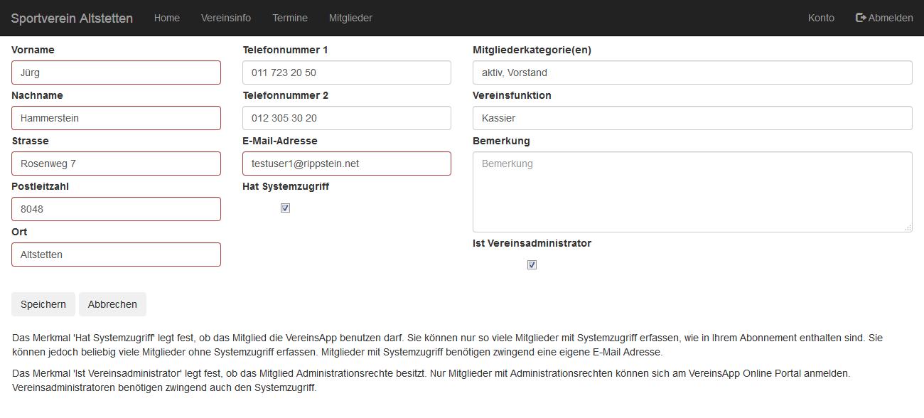VereinsApp Online Portal Mitglied bearbeiten Ansicht mit Eingabefelder für Vorname, Nachname, Strasse, Postleitzahl, Ort, Telefonnummern, E-Mail Adresse, Mitgliederkategorien, Vereinsfunktion und Bemerkung.