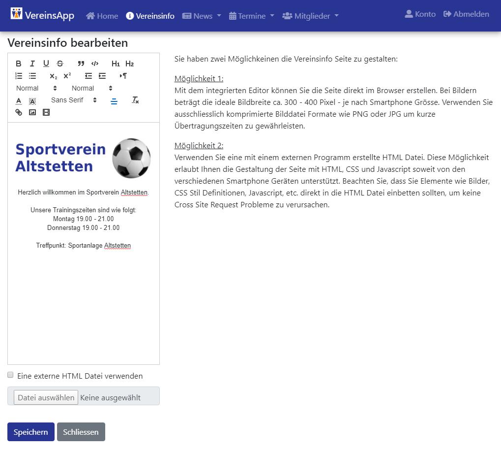 Vereinsinformationen Text Editor mit Formatierungsfunktionen und der Möglichkeit Medien Dateien einzubinden.