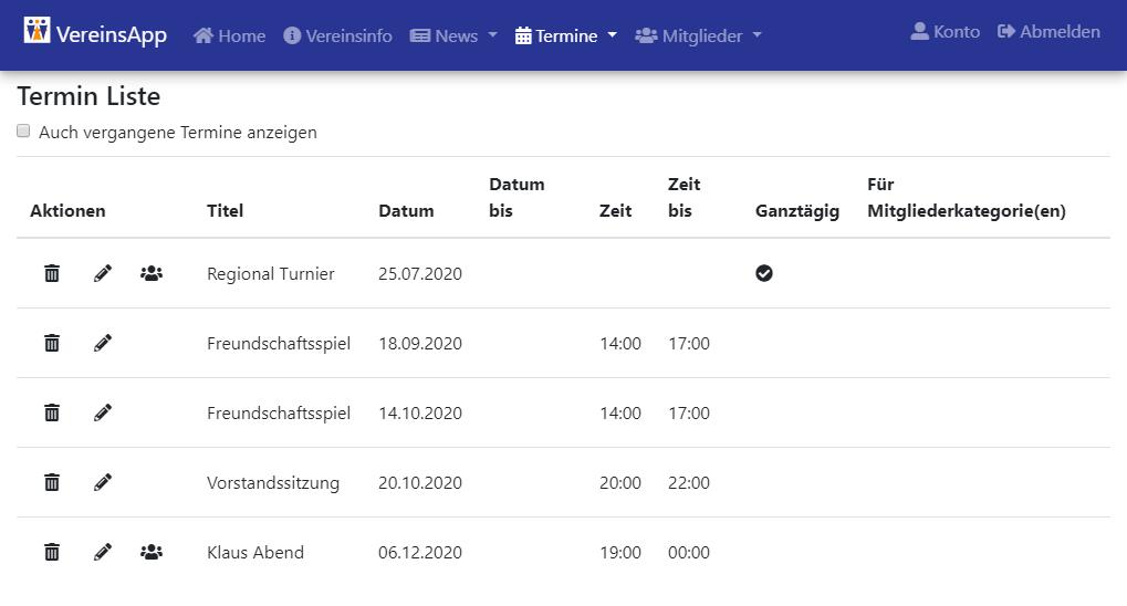 VereinsApp Online Portal Termin Liste mit Funktionen zum erfassen, bearbeiten und löschen von Terminen